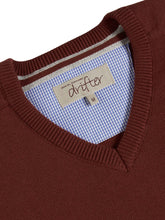 Load image into Gallery viewer, Drifter V Neck Sweater Dark Rust