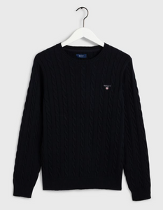GANT Cotton Cable Crew Evening Blue