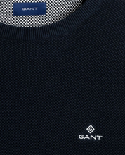 Load image into Gallery viewer, GANT Cotton Pique Crew Sweater Evening Blue