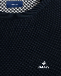 GANT Cotton Pique Crew Sweater Evening Blue