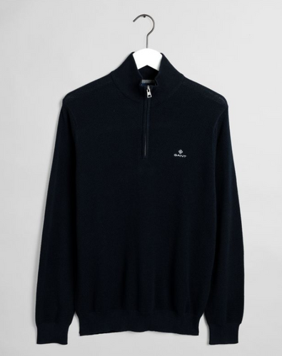 GANT Cotton Pique Halfzip Evening Blue