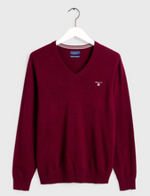 Load image into Gallery viewer, GANT Lambs Wool V Neck Sweater Burgundy