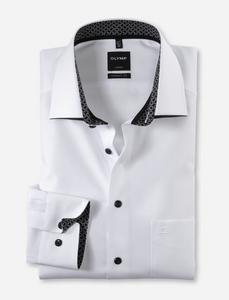 Olymp Kent Modern Fit Long Sleeve Shirt White