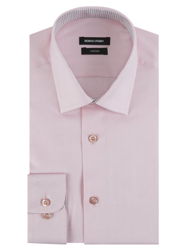 Remus Uomo Parker Tapered Fit Long Sleeve Formal Shirt Pink