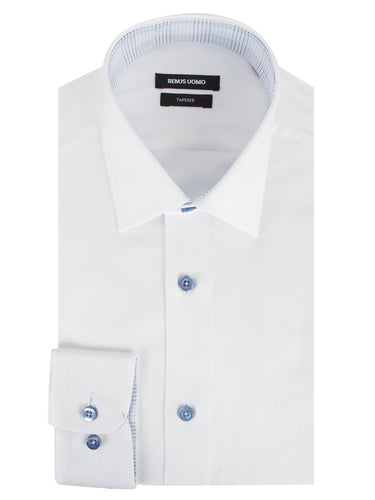 Remus Uomo Parker Tapered Fit Long Sleeve Formal Shirt White