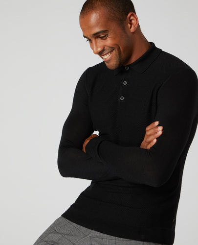 Remus Uomo Long Sleeve Knitted Polo Black