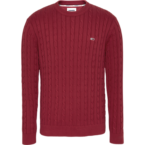 Tommy Jeans Essential Cable Sweater Wine Red