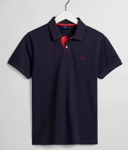 GANT Contrast Collar Pique Polo Evening Blue