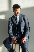 Load image into Gallery viewer, Herbie Frogg Three Piece Suit Blue Grey Check