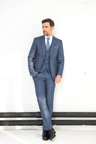 Herbie Frogg Three Piece Suit Blue Grey Check