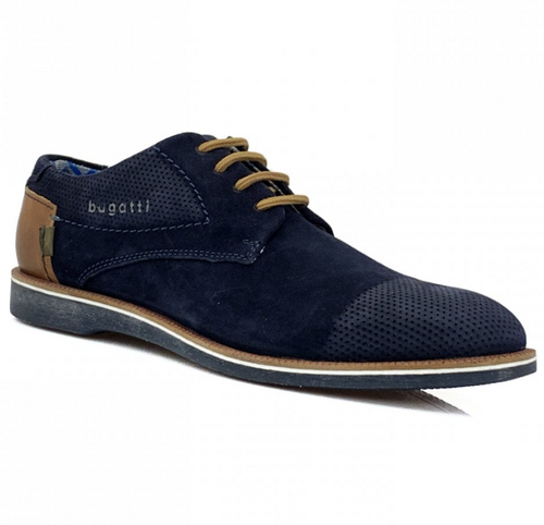 Bugatti Suede Lace Casual Shoes Dark Blue