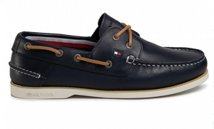 Tommy Hilfiger Leather Boat Shoe Navy