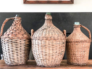 Vintage European Wicker Wrapped Wine Demijohn