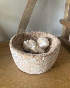 Vintage Whitewashed Wood Bowl