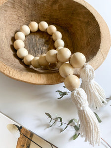 Wood Bead Garland with Tassel