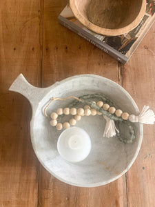 Honed Marble Bowl with Handle