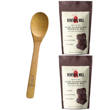 Load image into Gallery viewer, Gift Bundle: Dark Chocolate Brownie Mixes (Pack of 2) + Wooden Baking Spoon