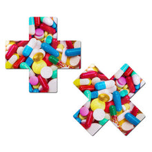 Load image into Gallery viewer, Plus X: Multicolor Prescription Pill Cross Nipple Pasties by Pastease® o/s
