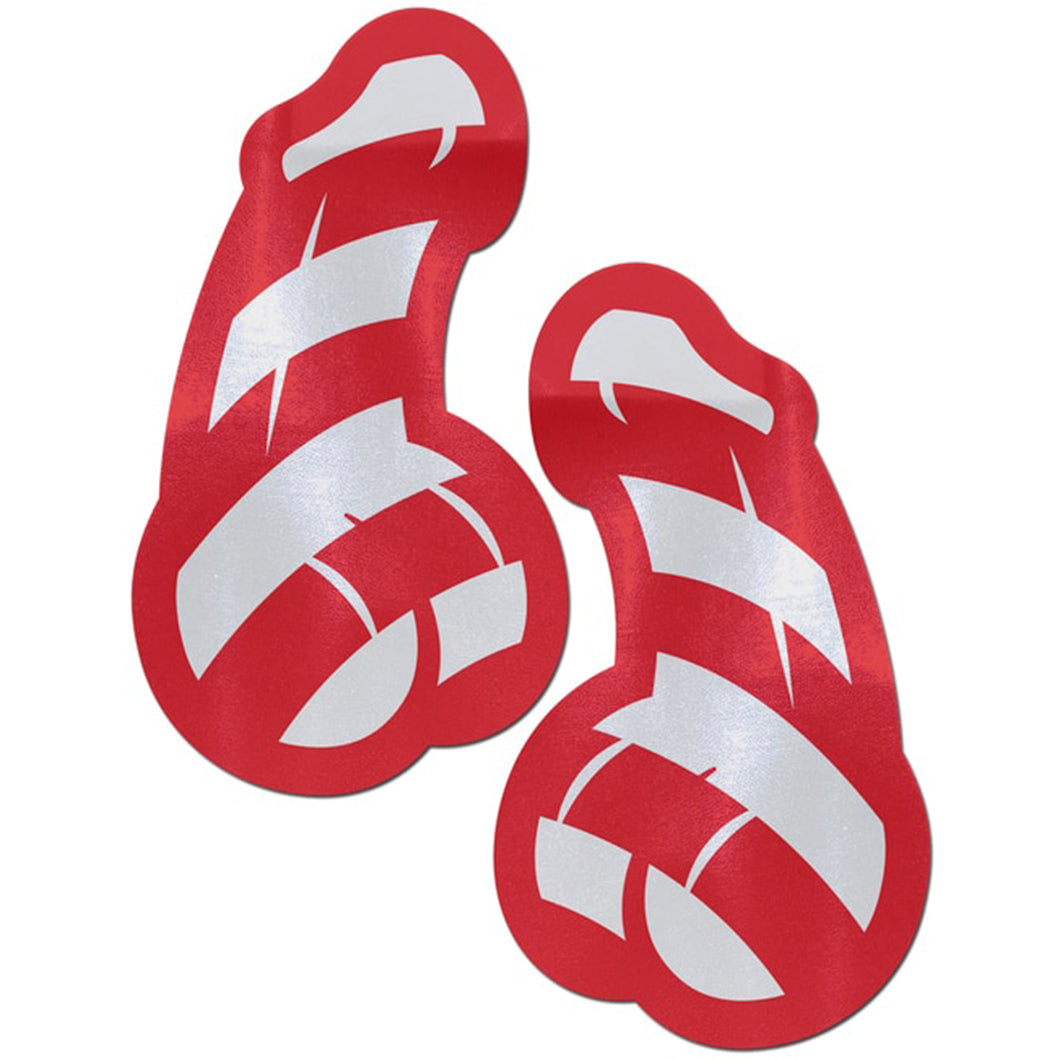 Penis: Red and White Stripe Candy Cane Dick Nipple Pasties by Pastease® o/s