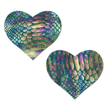 Load image into Gallery viewer, Love: Gold Holographic Snake Print on Green Pastel Tie-Dye Heart Nipple Pasties by Pastease® o/s