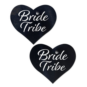 Love: Black 'Bride Tribe' Heart Nipple Pasties by Pastease® o/s