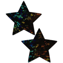 Load image into Gallery viewer, Star: Shattered Glass Disco Ball Black Star Nipple Pasties by Pastease® o/s