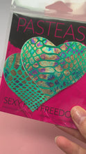 Load and play video in Gallery viewer, Love: Gold Holographic Snake Print on Green Pastel Tie-Dye Heart Nipple Pasties by Pastease® o/s