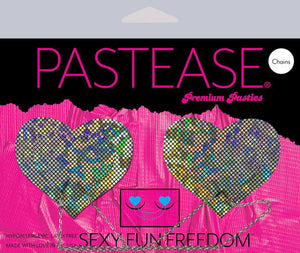Chains: Silver Shattered Disco Ball Heart with Silver Chains Nipple Pasties by Pastease® o/s