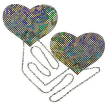 Load image into Gallery viewer, Chains: Silver Shattered Disco Ball Heart with Silver Chains Nipple Pasties by Pastease® o/s