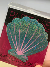 Load and play video in Gallery viewer, Mermaid: Liquid Seafoam Green and Pink Seashell Nipple Pasties by Pastease® o/s