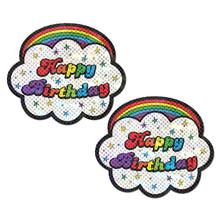 Load image into Gallery viewer, Cloud: Rainbow 'Happy Birthday' Cloud Nipple Pasties by Pastease® o/s