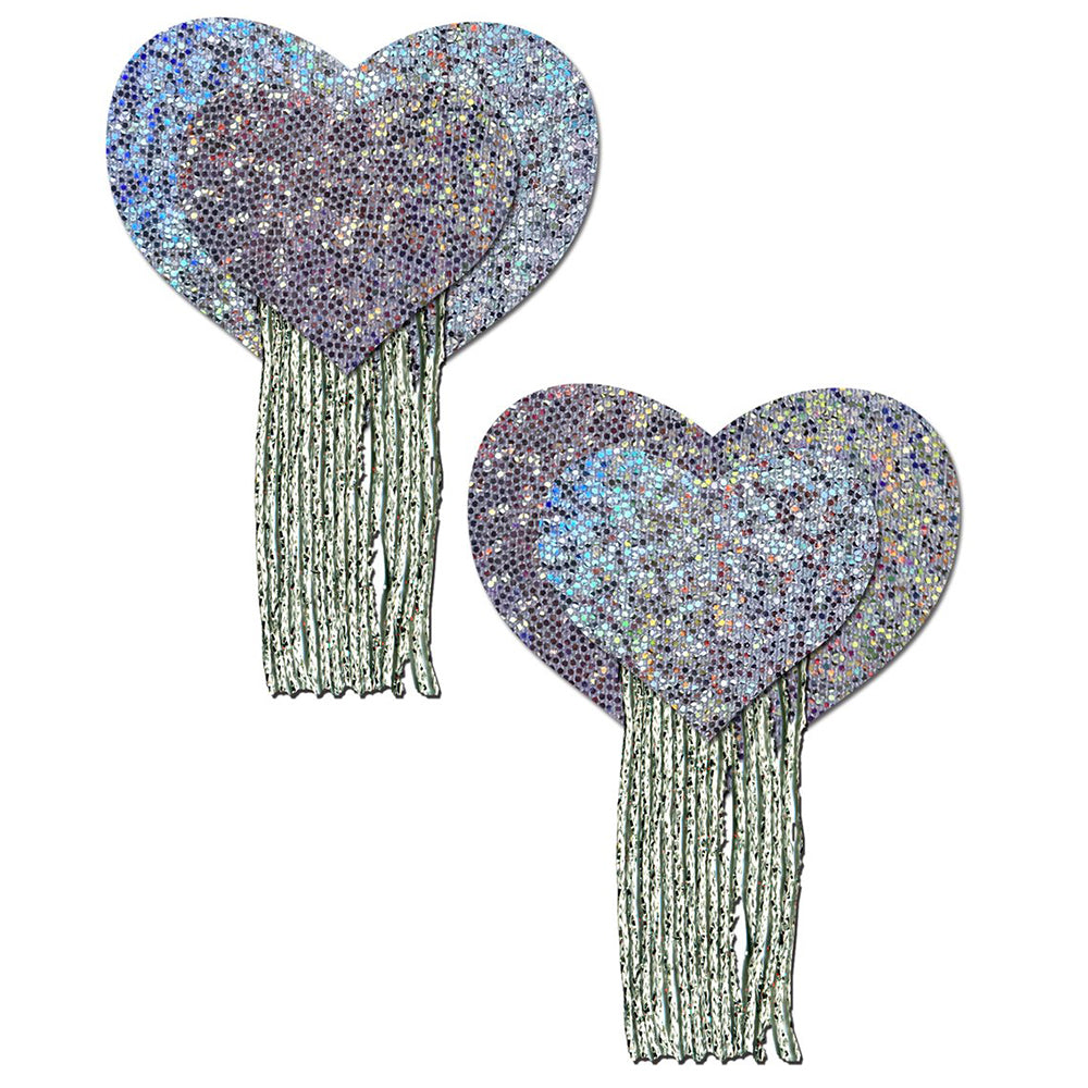 Love: Silver Glitter Hearts with Tassel Fringe Nipple Pasties by Pastease® o/s