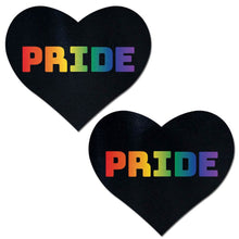 Load image into Gallery viewer, Love: Rainbow 'PRIDE' on Black Heart Nipple Pasties by Pastease® o/s