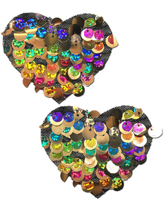 Love: Multi-Colour Party Sequin Heart Nipple Pasties by Pastease® o/s