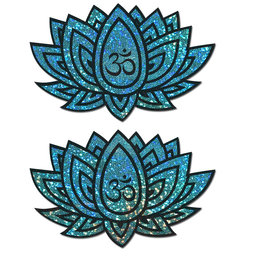 Lotus: Glitter Blue Green Ohm Lotus Nipple Pasties by Pastease® o/s