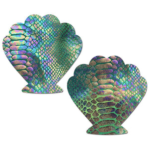 Mermaid: Gold Holographic Snake Print on Green Pastel Tie-Dye Heart Nipple Pasties by Pastease® o/s