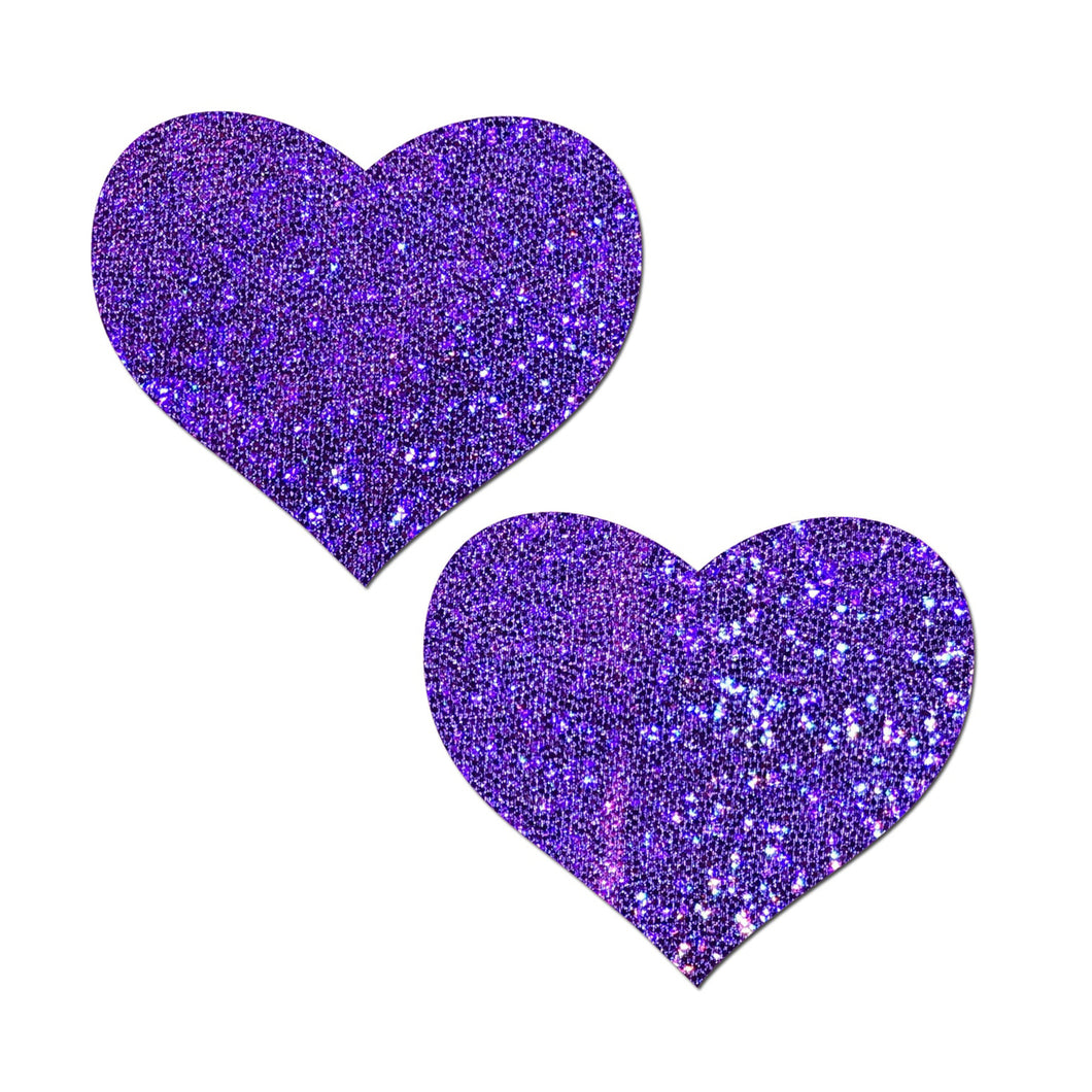 Love: Purple Glitter Heart Nipple Pasties by Pastease® o/s