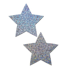 Load image into Gallery viewer, Everyday Reusable: Liquid Silver Star Reusable Nipple Pasties by Pastease® Everyday o/s