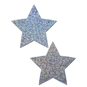 Everyday Reusable: Liquid Silver Star Reusable Nipple Pasties by Pastease® Everyday o/s