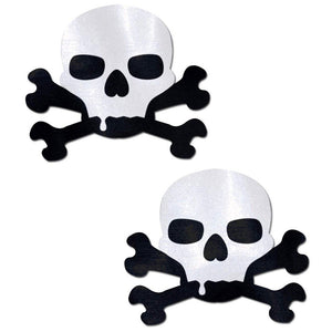 Skull: Sullen Skull Black & White Nipple Pasties by Pastease® o/s