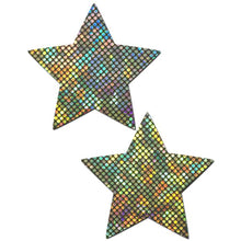 Load image into Gallery viewer, Star: Shattered Glass Disco Ball Silver Star Nipple Pasties by Pastease® o/s