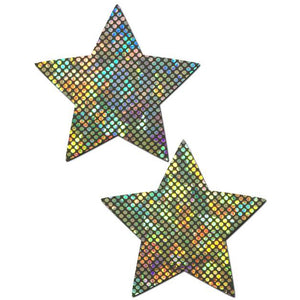 Star: Shattered Glass Disco Ball Silver Star Nipple Pasties by Pastease® o/s