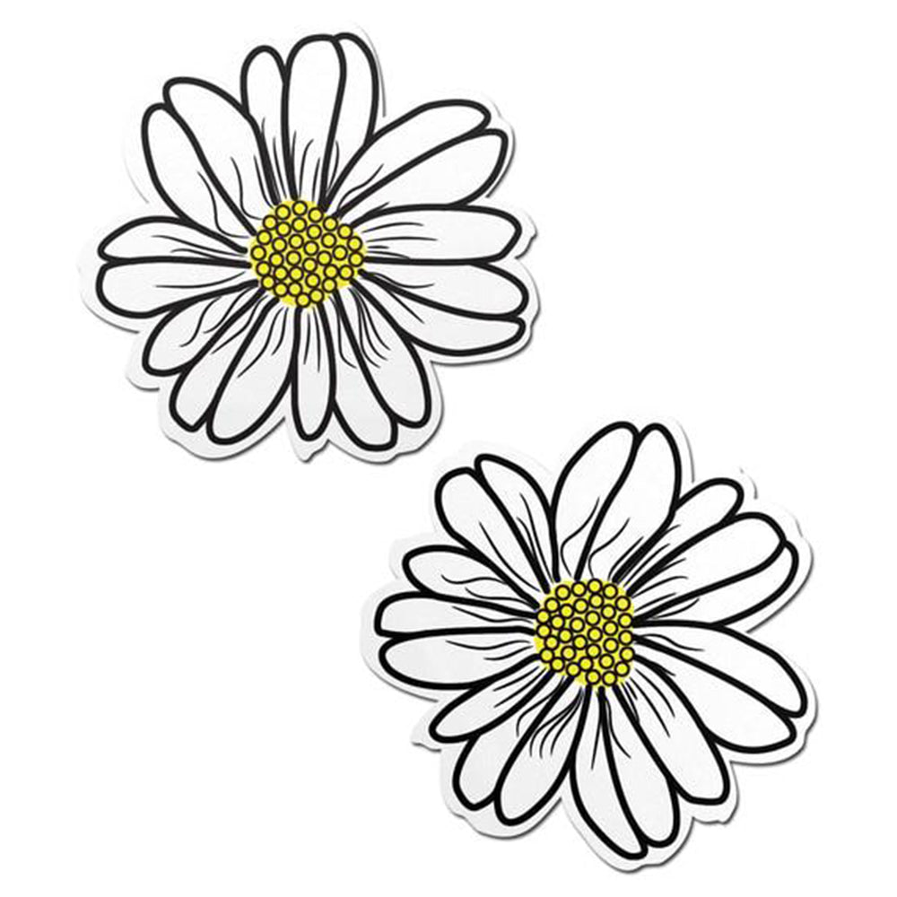 Wildflower: White and Yellow with Black Flower Nipple Pasties by Pastease® o/s