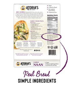 Garlic Naan Flatbread (Full Case, 8 Packs of 2 Sheets)
