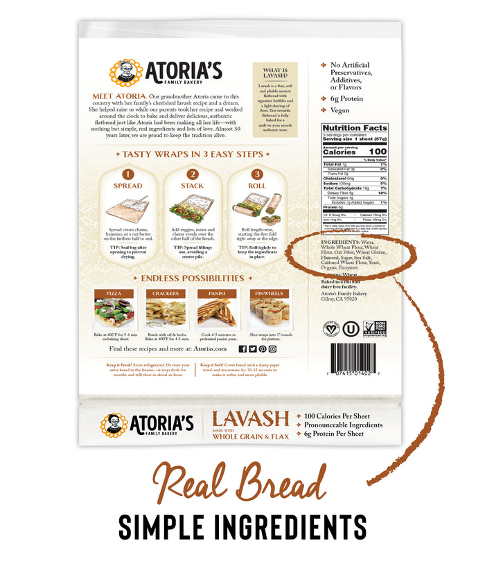 Lavash Flatbread with Whole Grain & Flax (Full Case, 10 Packs of 5 Sheets)