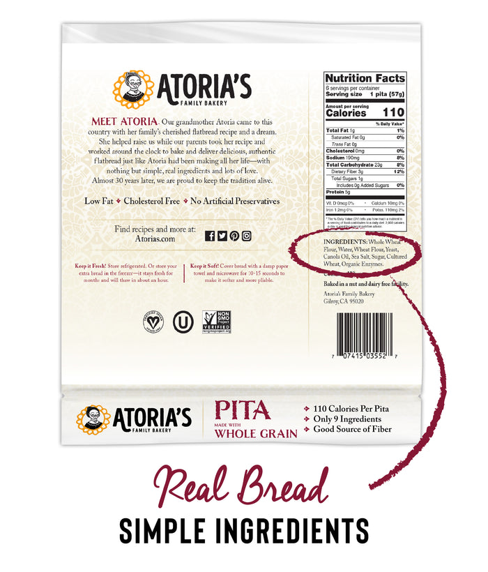 Pita with Whole Grain Flatbread (Full Case, 8 Packs of 6 Sheets)