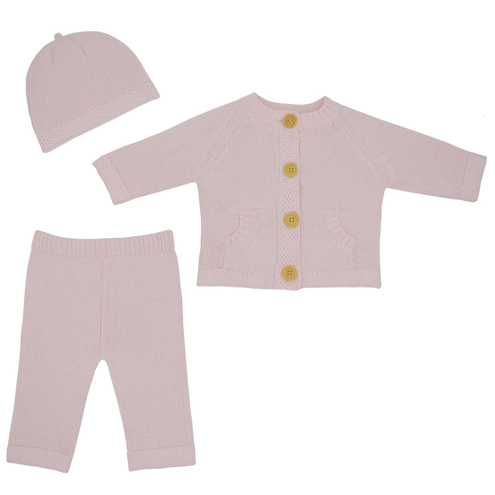3pc Blush Cardigan Set - 0-3m