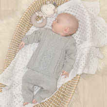 Load image into Gallery viewer, 2pc Grey Cable Knit Set - 0-3m