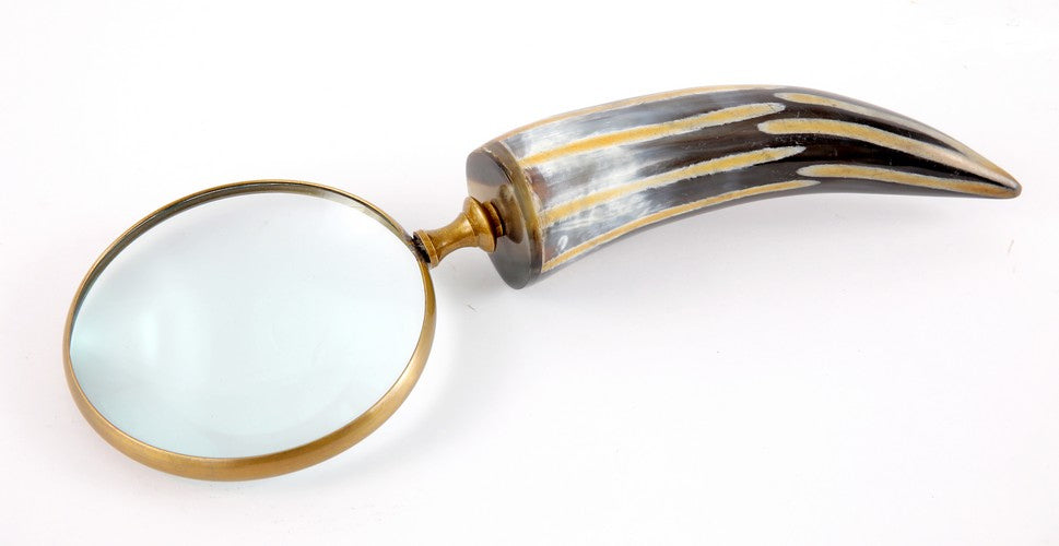 Brass Aluminium Magnifier - Horn Handle