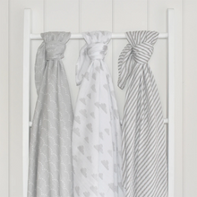 Load image into Gallery viewer, Misty Grey Muslin Wraps - 3 Pack
